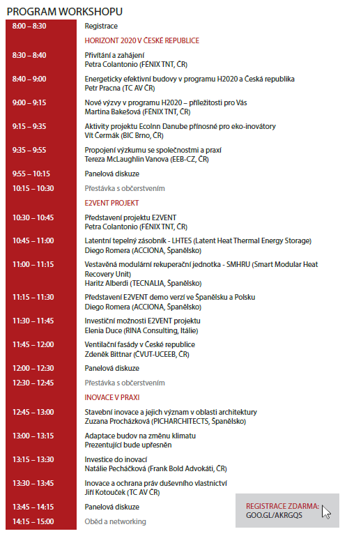 E2V workshop Prague agenda